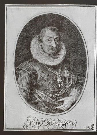 Portrett av Philip Hainhofer fra cirka 1610 på en kobberplate. Kunstneren var Lucas Kilian.