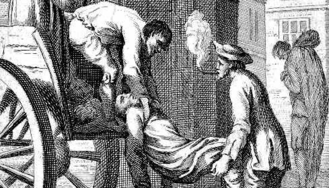 Illustrasjon fra London-pesten i 1665. Lik løftet opp på en kjerre. (Kilde: Trykket i boka 'History of England', fra 1747. Gravert av N. Parr i 1747. IFoA)