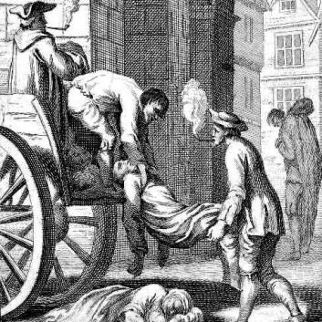Illustrasjon fra London-pesten i 1665. Lik løftet opp på en kjerre. (Foto: (Kilde: Trykket i boka 'History of England', fra 1747. Gravert av N. Parr i 1747. IFoA))