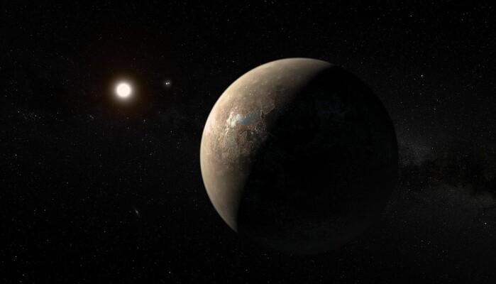 I vårt nærmeste stjernesystem ligger planeten Proxima b. Her illustrert av en kunstner.