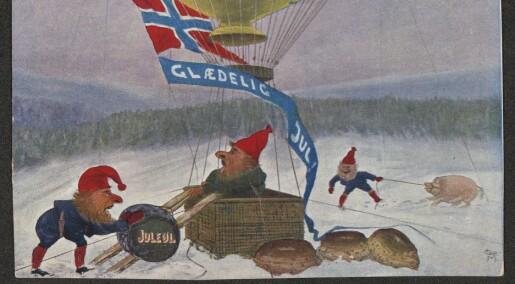 Julekort har ikke alltid bare vært pene og søte. Rølpete fjøsnisser som drakk juleøl, var populære motiver før i tiden.