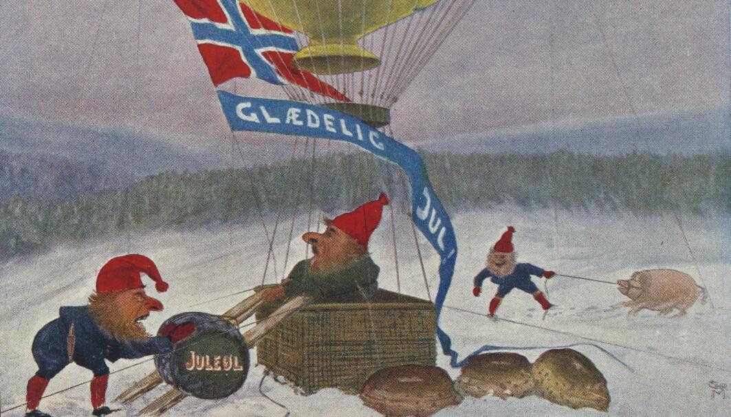 De norske fjøsnissene som prydet julekortene før i tiden fant på mye rart. Dette eksemplaret er fra 1915.