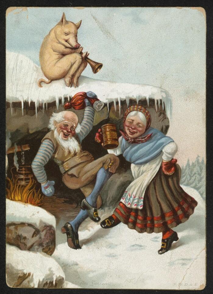 Julekort fra 1890: Nissefar, nissemor og gris på taket.