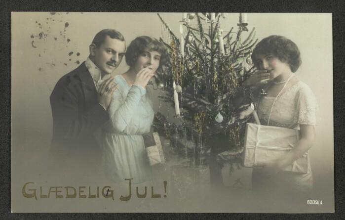 Slik kunne julekort se ut i 1920.