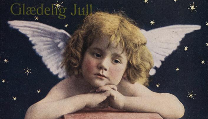 En søt engel på et julekort fra 1924.