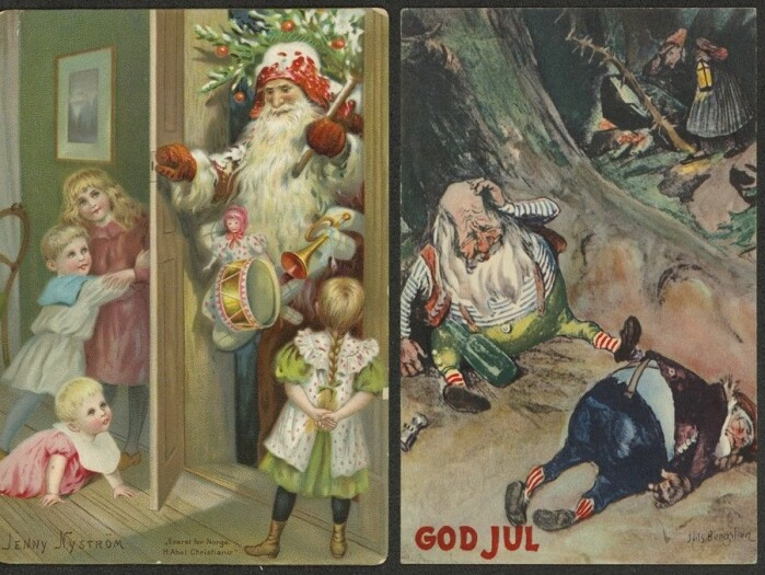 To typer nisser: Den tyskinspirerte julenissen på et julekort fra 1890 og to fulle fjøsnisser på et kort fra 1950.