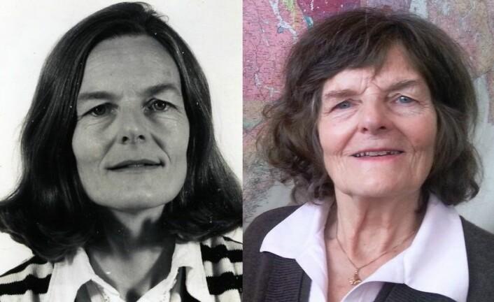 FØR OG ETTER: Det har tatt tre tiår å lage Norsk geologisk ordbok. Her er Ellen M. O. Sigmond før oppstart på åttitallet og etter lansering i 2013. (Foto: NGU / Nina Kristiansen)