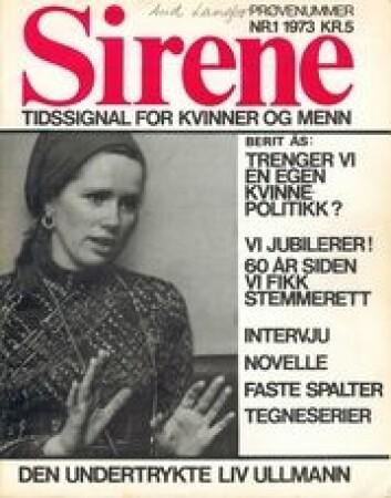 En undertrykket Liv Ullmann prydet første utgave av Sirene som kom ut 31. august 1973.
