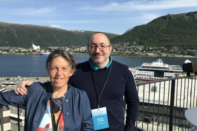 Odile Eisenstein and Michele Cascella solved the Grignard mystery that had amazed chemists for 120 years. The photo was taken while the two were at a chemistry conference in Tromsø in July 2019.