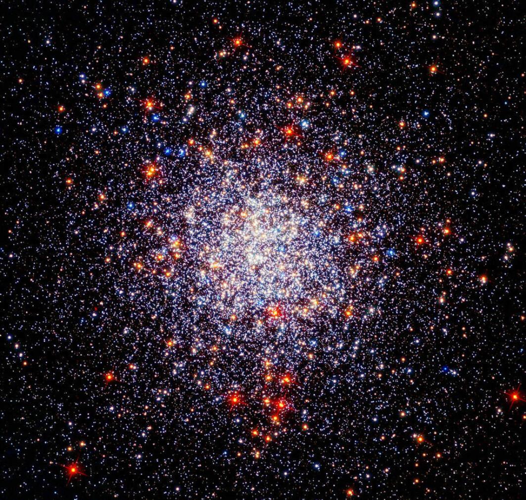 Dette viser en kulehopen Caldwell 87 eller NGC 1261. Den ligger 50 000 lysår unna. Kulehoper er kuleformede samlinger med stjerner.