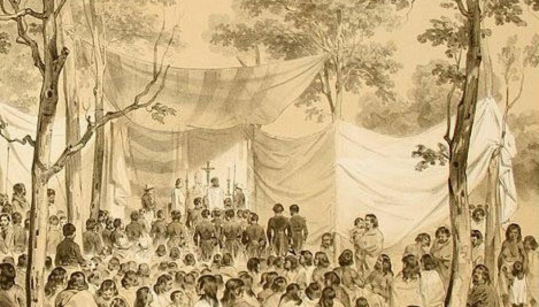 Franske misjonærer holder messe for lokalbefolkningen på Mangareva. Illustrasjonen er lagd av Ernest Goupil og ble publisert i Atlas pittoresque, utgitt i 1846. (Wikimedia Commons)