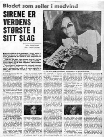 Faksimile fra Arbeiderbladet om Sirenes popularitet, 6. juli 1974.