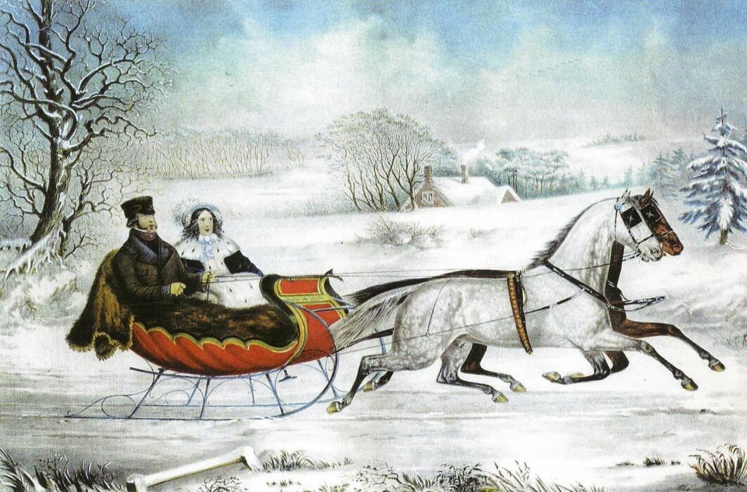Et julekort fra 1853, utgitt av det amerikanske trykkeriet Currier and Ives.