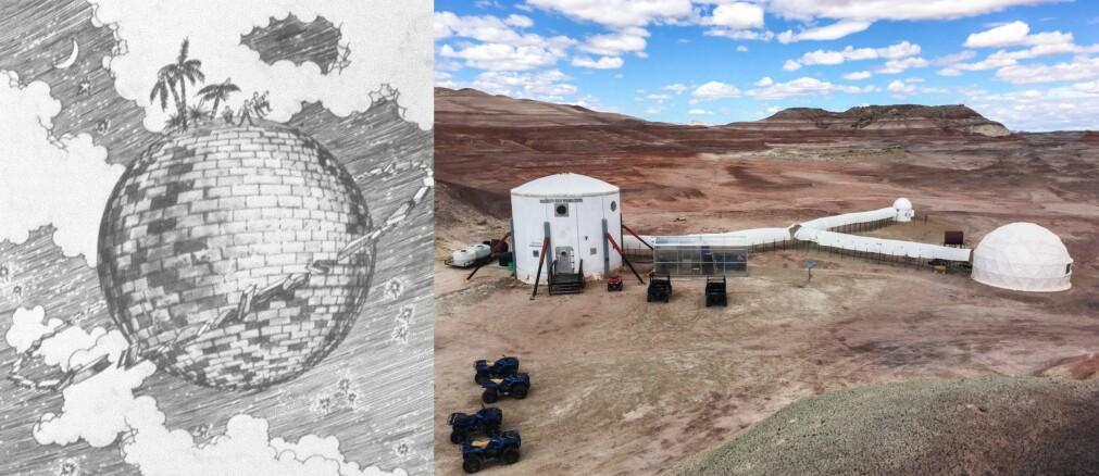 Fra murstein-satellitter til Mars-basen i Utah – mye kan skje på vel 150 år. Til venstre ses omslaget til romanen 'The Brick Moon' fra 1869. Til høyre en av basene til The Mars Society, som brukes til å simulere Mars-reiser.