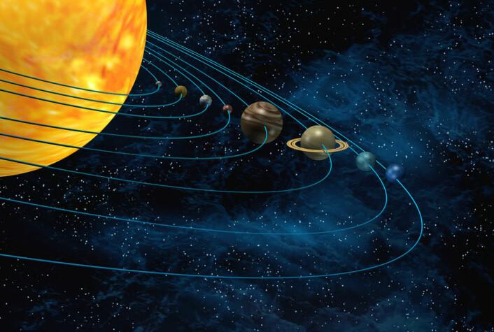 Den nye eksoplaneten en vanlig brite har funnet er cirka på størrelse med Neptun. På dette bildet av solsystemet vårt er Neptun den blå planeten i ytterste bane. (Foto: Colourbox)
