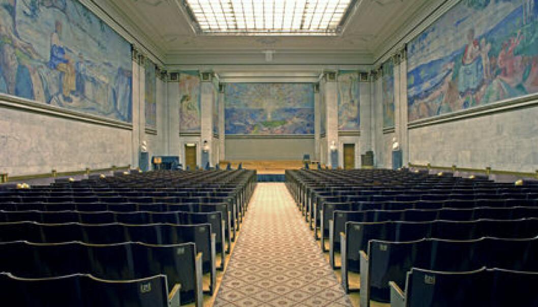 """""""Universitetets aula med Munchs kunst på veggene."""""""