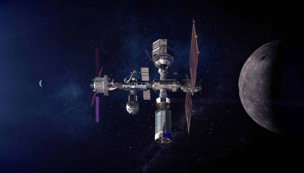 Slik ser NASA for seg at måne-romstasjonen Lunar Gateway skal se ut når de kan sette astronauter på månen igjen.