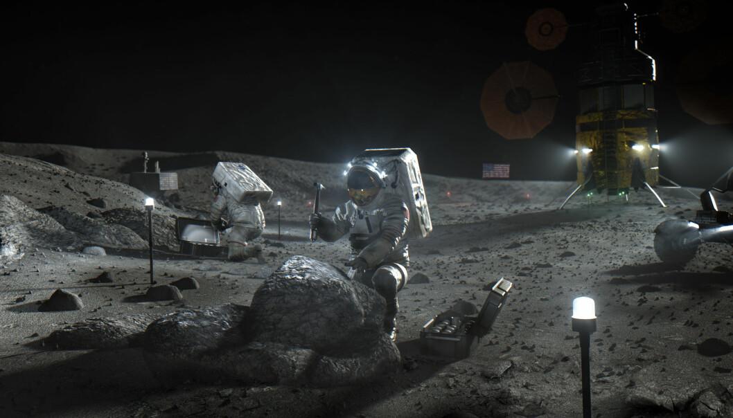 Slik ser NASA for seg at den neste månelandingen vil bli. Dette er kun en illustrasjon.