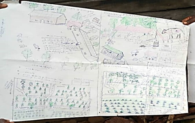 One of the methods InnovAfrica is pilot testing is an Integrated Farm Plan (PIP). To start with farmers are challenged to make a drawing illustrating the current situation on their farm, as well as their desired future situation. In this PIP-drawing, the farmer has drawn the current state to the left and the desired future to the right.