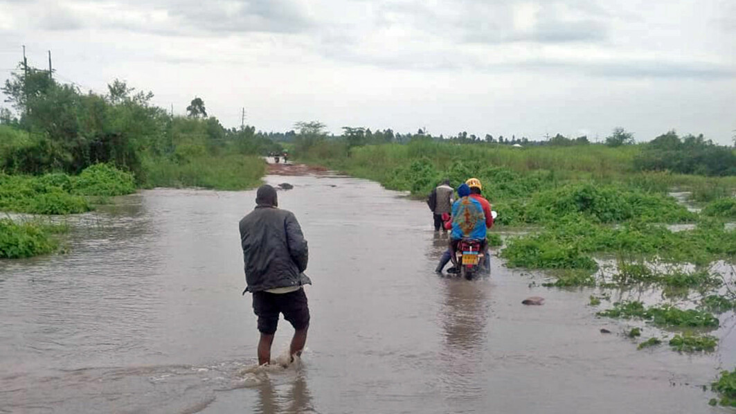 This picture shows a road between bagasse source and briquette production site at Ligodho project site during the flooding.