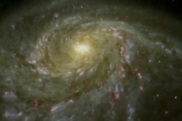 Astronomer kan måle avstanden til en pulserende variabel stjerne som Nordstjernen ved å undersøke hvordan den varierer i lysstyrke over tid. (Foto: Skjermdump)
