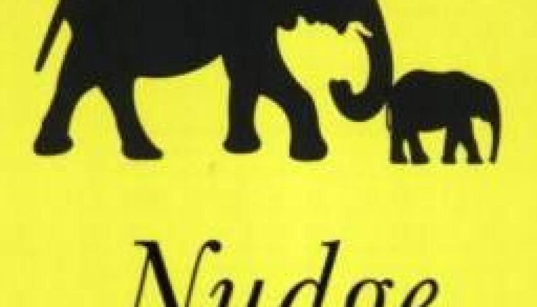 En elefantmor «nudger» ungen sin fremover. (foto: http://nudges.org/)