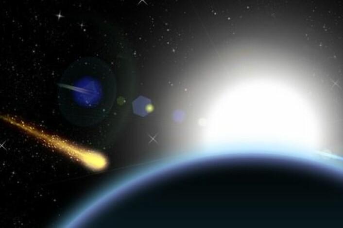 Når meteoritter bryter gjennom atmosfæren, brennes de ytre lagene opp, og det etterlater en mørk skorpe som kjennetegner de fleste meteorittene. (Foto: Colourbox)