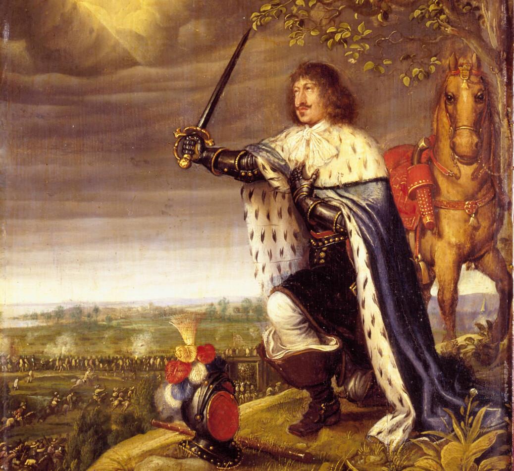 Frederik 3. var konge av Danmark og Noreg i perioden 1648–1670, i tida da eineveldet ble innført. Måleriet føresteller Slaget ved Nyborg, i krigen mellom danske og svenske soldatar. Kongen deltok ikkje i slaget.