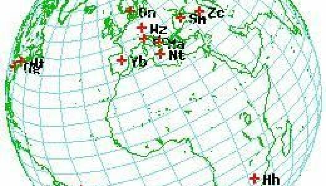Et globalt nettverk av antenner fanger opp signaler fra stjerner fra den fjerne fortid. Disse signalene brukes til å regne ut hvor jordkloden er i verdensrommet. (Illustrasjon: NTNU)