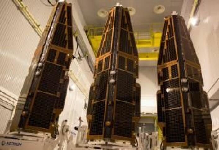 De tre satellittene før utskyting. (Foto: ESA/M. Shafiq)