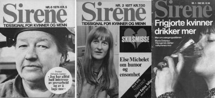 Tre Sirene forsider, fra1974, 1977 og 1981. - Da jeg leste bladene kjente jeg meg igjen. Mye av det Sirene tok opp er fremdeles relevant for meg som kvinne, og som mor til en jente, sier Synnøve Skarsbø Lindtner.