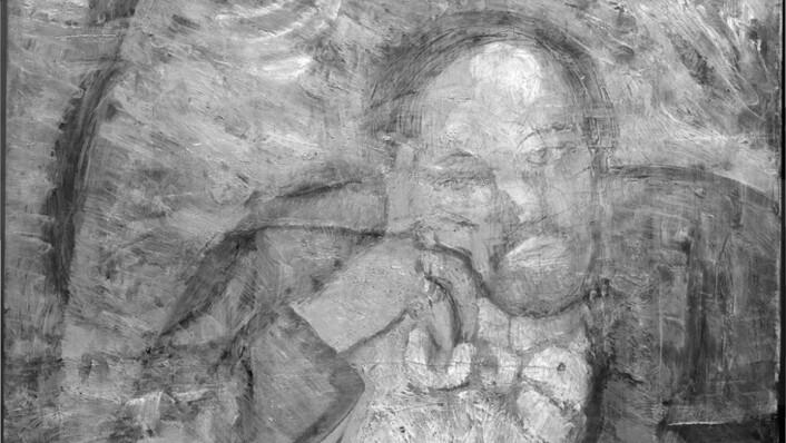 Ved hjelp av infrarødt kamera har eksperter funnet dette bildet, som viser en skjeggete mann. (Foto: AP)
