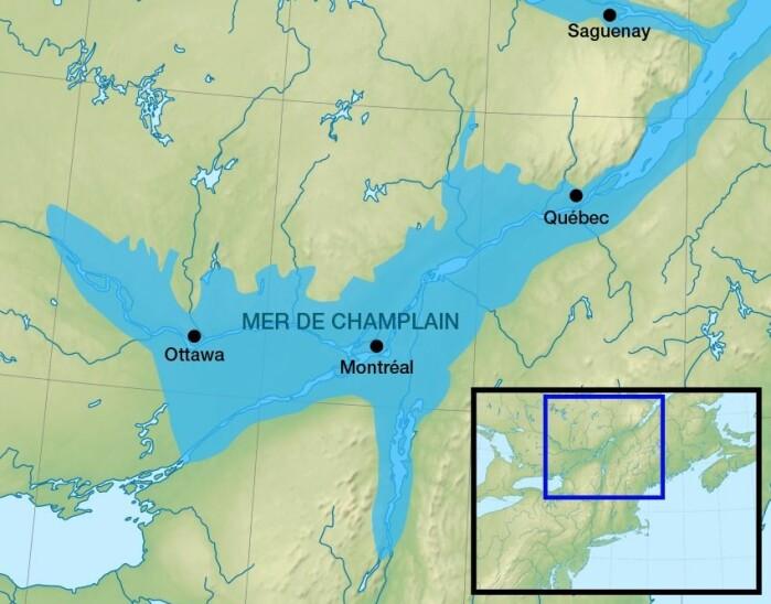 Slik kan Champlain-havet ha sett ut mot slutten av forrige istid. Alt det lyseblå kan ha vært hav, og har etterlatt en kvikkleire-arv.