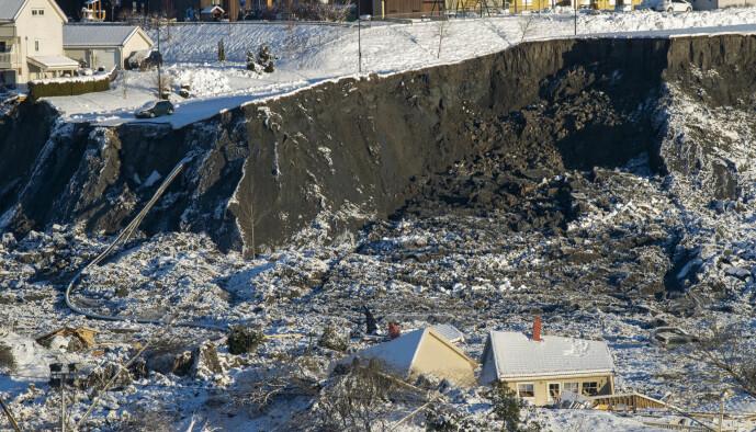 En del av det katastrofale kvikkleireskredet på Gjerdrum. Dette bildet er fra 4. januar.