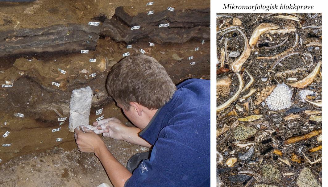 Haaland tar ut en sedimentprøve av kulturlagene i Blomboshula (t.v.). Etter å ha impregnert og herdet prøven, kan den kuttes opp og innholdet kan studeres i detalj, som bildet til høyre viser.