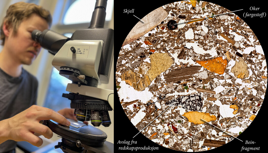 Magnus Haaland studerer ørsmå fragmenter i kulturlagene fra Blombos-hula gjennom mikroskop.
