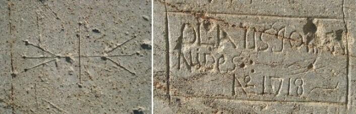 Kleberstein er den mykeste bergarten vi har i Norge, og følgelig lett å ripe. Vi ser dette til gangs i kirken. Signaturen til en steinhugger fra middelalderen til venstre, gammel grafitti til høyre. Alt i trondheimskleber. (Foto: NGU)