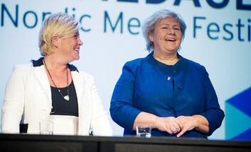 Siv Jensen og Erna Solberg utvider kvinnelige politikeres spillerom i media, men også de utsettes for språk og stereotypier deres mannlige kolleger slipper å forholde seg til. (Foto: Nordiske Mediedager)
