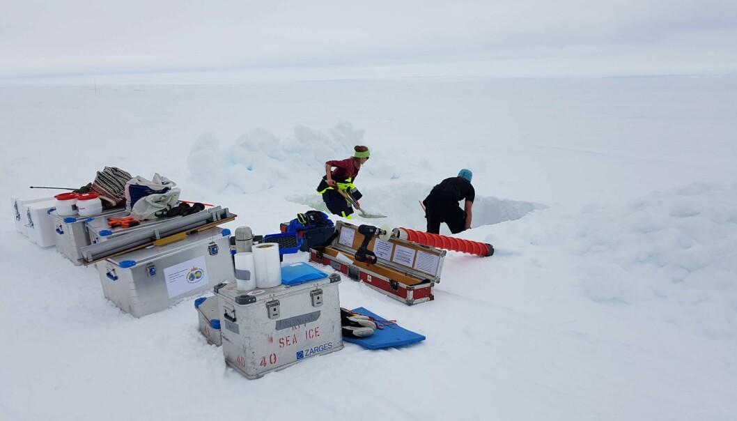 Hovedmålet vårt var å hente iskjerner for å studere temperatur, saltholdighet, biologi, mikroplast og mer.