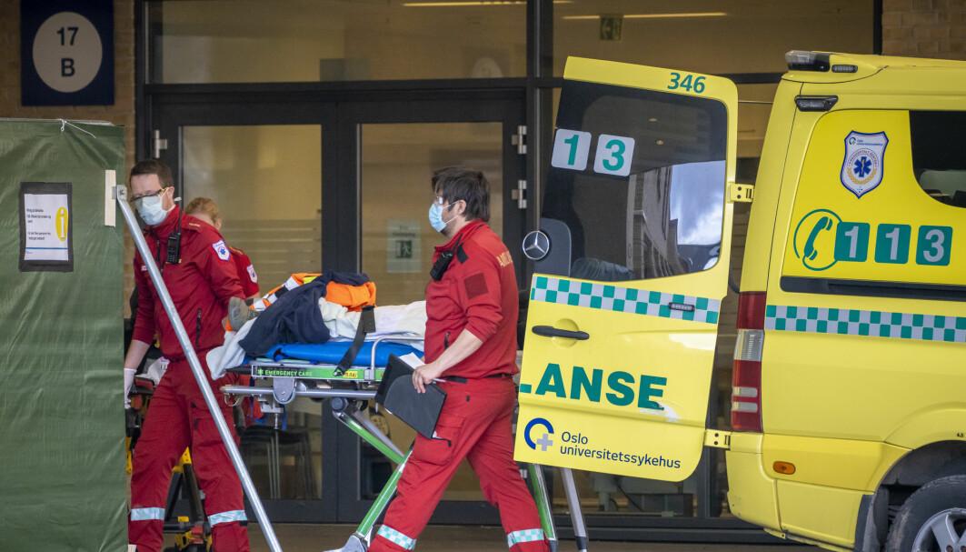 En større andel av de norske covid-19-pasientene ble sykehusinnlagt etter nedstengingen av Norge i mars 2020. Her fra Ullevål sykehus 2. april samme året.