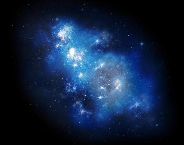 Her har en kunstner laget en illustrasjon av hvordan galaksen kanskje så ut for 13,4 milliarder år siden.