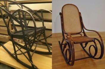 Til høyre har vi en original Thonet-stol fra 1870, til venstre den hjemmelagde kopien på Tromsø museum. (Foto: Hanne Jakobsen/FA2010/Wikimedia Creative Commons)
