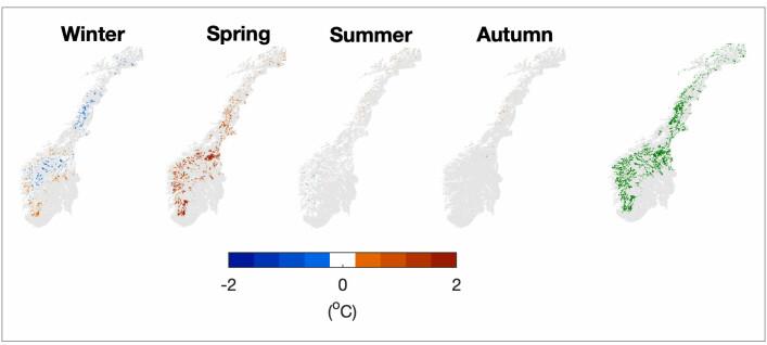 Figuren viser områder i Norge med skogplanting fordelt på ulike årstider, hentet fra modellen i studien. Lokalt kan skogplanting øke lufttemperaturer om våren med så mye som 1 grad. For andre årstider er det liten endring. Helt til høyre vises områder med skogplanting i Norge.