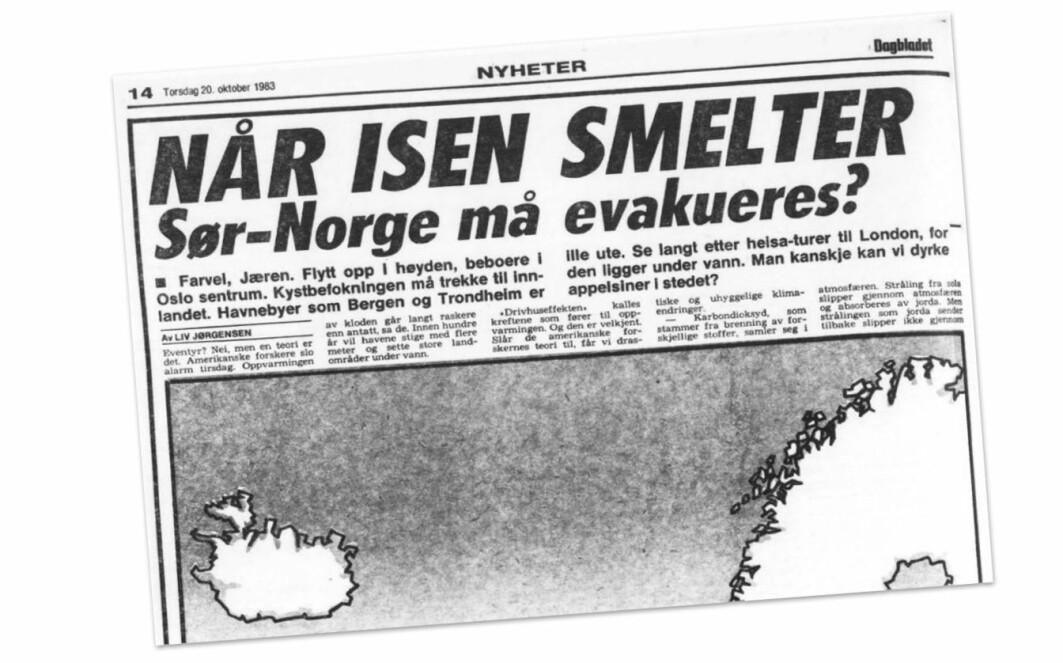 Mange journalister var veldig engasjerte og erkjente nok alvoret med klimaendringene ganske tidlig, mener Lars Sandved Dalen. Her er et oppslag i Dagbladet fra 1983 som rapporterer om at amerikanske forskere har slått alarm om oppvarming av kloden. Norske forskere var mer forsiktige. Flere var også mer skeptiske til den amerikanske forskningen.