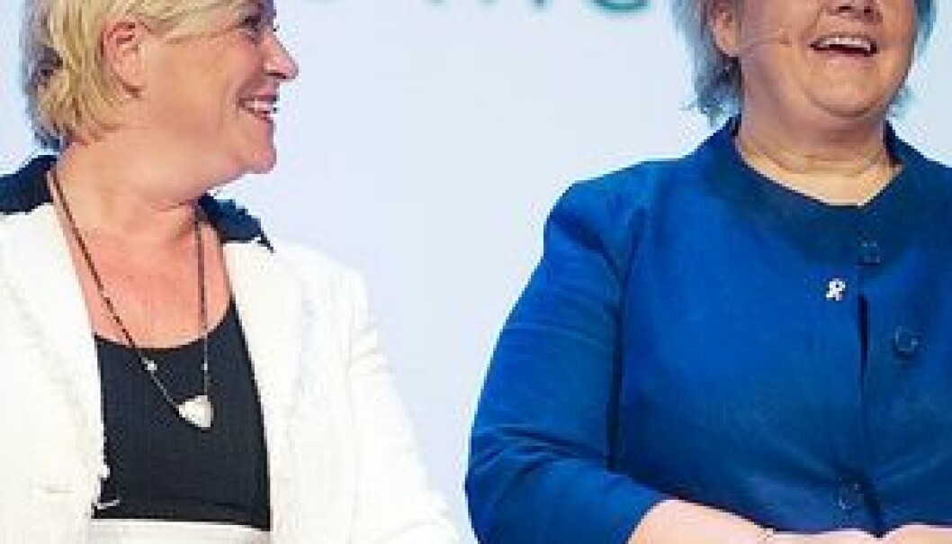 Siv Jensen og Erna Solberg. Nordiske Mediedager