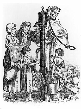Kartlegging av koleraens utbredelse i London i 1850-årene førte til at man forstod at vann kunne være en smittekilde. Tegningen er fra 1866 og skulle illustrere Londons ofte dødelige vannkilde.