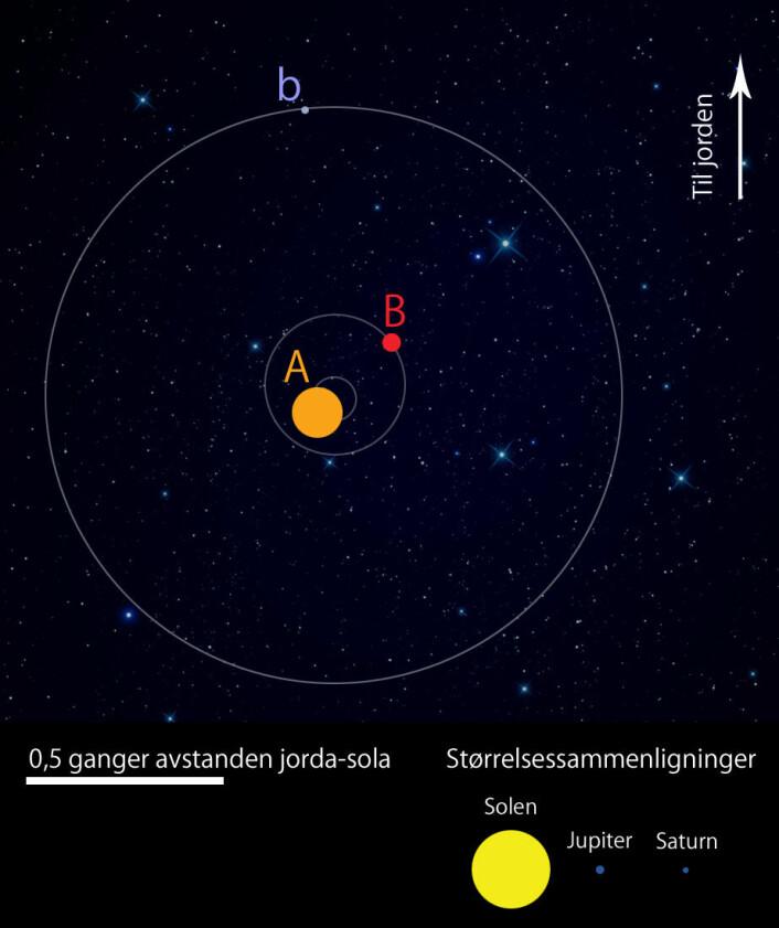 Den gule dvergstjerna A og den mindre røde dvergstjerna B går rundt et felles tyngdepunkt med periode omtrent 41 dager. Den Saturnlignende planeten b går i bane rundt begge med en periode rundt 7 måneder. Avstanden mellom planeten og de to stjernene er rundt halvparten av avstanden mellom jorda og vår sol. (Foto: (Figur: Per Byhring, forskning.no))