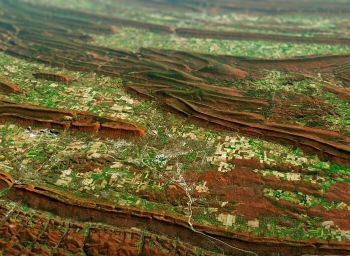 Høstfarger i Pennsylvania. Flere satellittbilder er lagt på hverandre i en virtuell terrengmodell for å framheve de karakteristiske rullende bakkene.