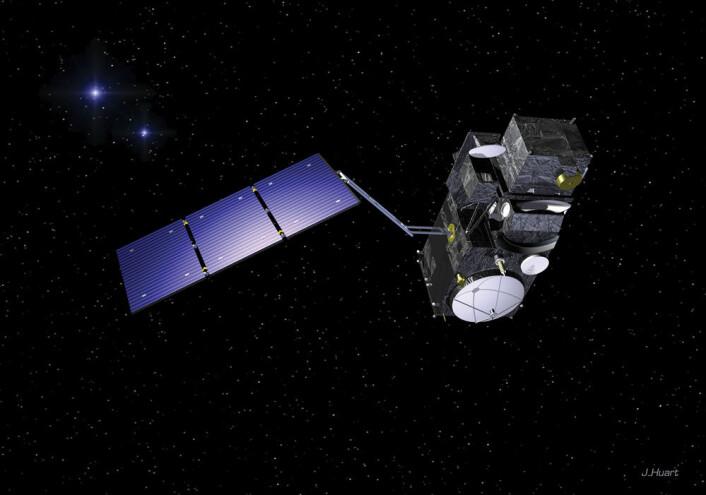 Sentinel-3 utvikles av ESA for å kunne måle topgrafi, temperaturer og farger på både havet og landjorda. (Foto: (Illustrasjon: ESA/Huart))