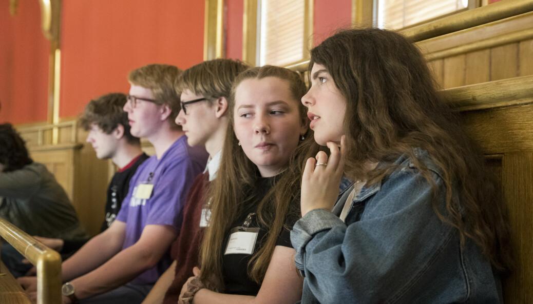 – At folk forstår hvordan valgsystemet fungerer, er faktisk ganske viktig, sier Bernt Aardal. Bildet viser ungdom på Stortingets balkong.